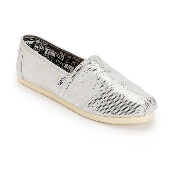 Toms Other - Toms Silver Glitter Sparkle Classic Slip On Flats